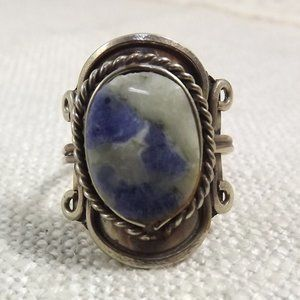 Vintage Stone Ring in Comfort Setting, Size 7.5